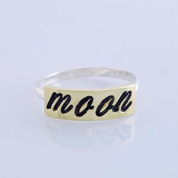 Cursive stamped ring