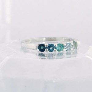 Round Ocean Blue Ombre Ring