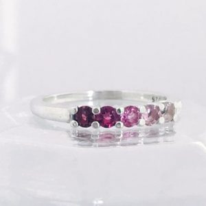 Round Pomegranite Pink Ombre Ring