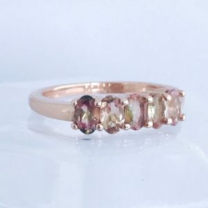 Watermelon Tourmaline Ombre Ring