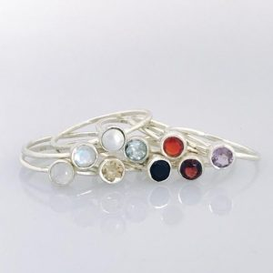 Round Gemstone Rings