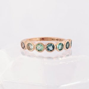 Blue Lucky Seven Stone Ombre Ring