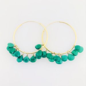 Green Onyx Hoop Earrings