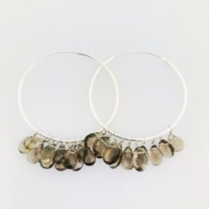 Smoky Topaz Hoop Earrings