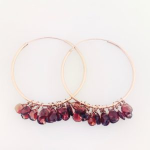 Garnet Rose Gold Hoop Earrings